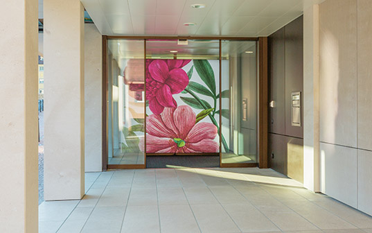 Flower motifs which were included in the design of the LGT branch in Vaduz.
