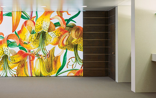 Flower motifs which were included in the design of the LGT counter hall in Vaduz.